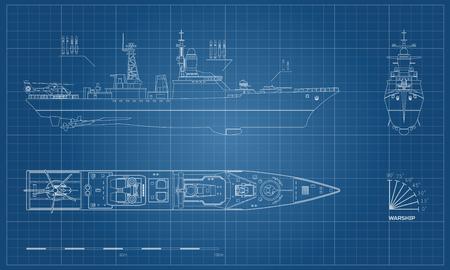 Blauwdruk van militair schip. Boven-, voor- en zijaanzicht. Slagschipmodel. Industriële tekening. Oorlogsschip in kaderstijl. Vector illustratie