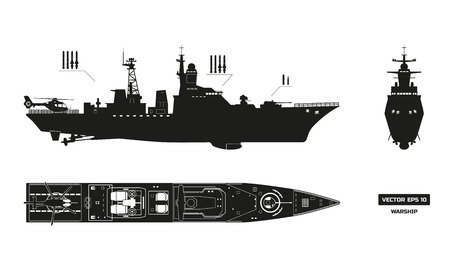 Detailed silhouette of military ship. Top, front and side view. Battleship model. Industrial drawing. Warship in flat style. Vector illustration