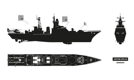 軍事船の詳細なシルエット。上部、前面と側面を表示します。戦艦モデル。工業設計図。フラット スタイルの軍艦。ベクトル図