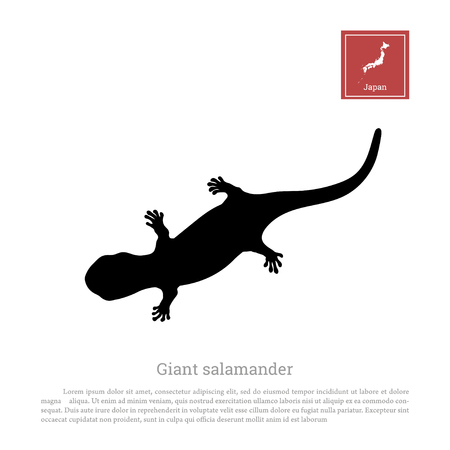 Black silhouette of a japanese giant salamander on white background. Animals of Japan. Vector illustration Çizim