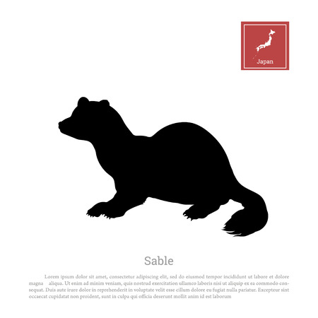 Black silhouette of a japanese sable Illustration