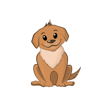 Brown puppy in cartoon style Stock Photo
