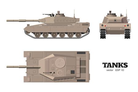 Realistic tank blueprint armored car vector illustration Ilustrace