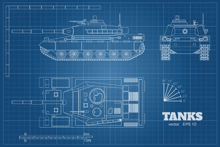 Blueprint of realistic tank. Top, front and side view. Detailed armored car. War vehicle in outline style