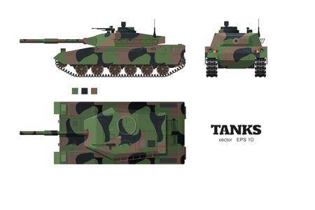 Realistic tank blueprint. Armored car with camouflage on white background. Top, side, front views. Army weapon. War camouflage transport