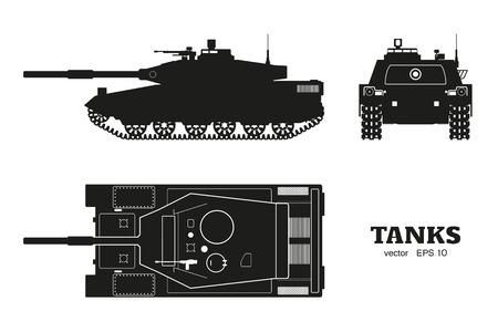 Silhouette of realistic tank blueprint. Armored car on white background. Top, side, front views. Army weapon. War camouflage transport. Vector illustration Illustration
