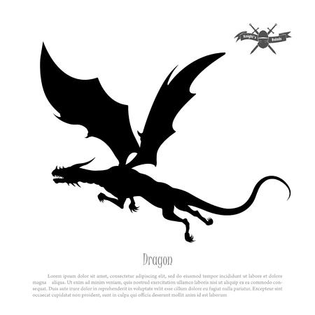 Black silhouette of dragon on white background. Fantasy monster Stock Photo