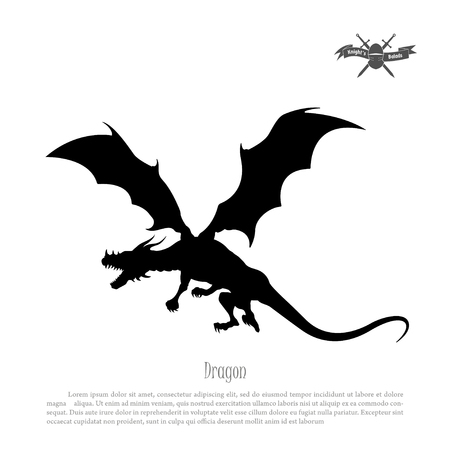 Black silhouette of dragon on white background. Fantasy monster. Vector illustration