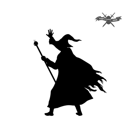 Black silhouette of wizard with hat and staff vector illustration Stock Illustratie
