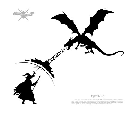 Black silhouette of battle of wizard with dragon on white background. The monster breathes fire on the magician. Isolated image of fantasy magic fight. Vector illustration