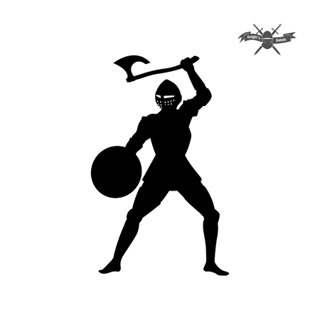 Black silhouette of knight with axe on white background. Icon of medieval soldier. Vector illustration