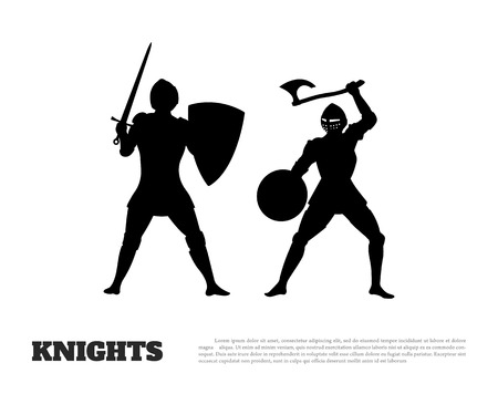 Black silhouette of knight battle on white background. Icon of medieval soldiers Illustration