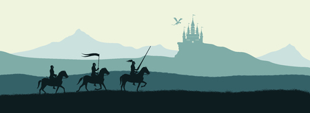 Black silhouette of knights on background of castle attacked by dragon. Fantasy landscape. Medieval panorama Ilustração