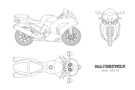 Outline drawing of motorcycle. Side, top and front view, Detailed isolated blueprint of motorbike on white background