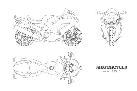 Overzichtstekening van motorfiets. Zij-, boven- en vooraanzicht, gedetailleerde geïsoleerde blauwdruk van motor op witte achtergrond Vector Illustratie