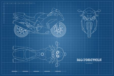 Croquis de motocicleta. Vista lateral, superior y frontal. Plan detallado de la moto sobre fondo azul. Ilustración vectorial