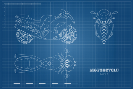 Outline drawing of motorcycle. Side, top and front view. Detailed blueprint of motorbike on blue background. Vector illustration