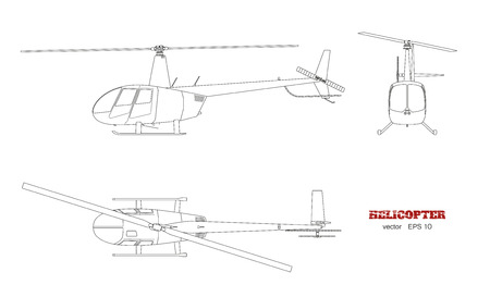 Blueprint of helicopter in Top, front and side view, Detailed image of business vehicle, Industrial isolated drawing of helicopter in outline style.
