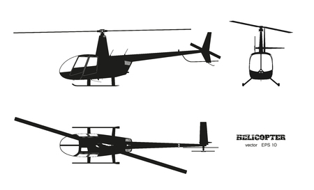 Black silhouette of helicopter on white background. Top, front and side view. Detailed image of business vehicle.  Industrial isolated drawing. Vector illustration