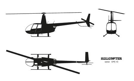 Zwart silhouet van helikopter op witte achtergrond. Boven-, voor- en zijaanzicht. Gedetailleerd beeld van bedrijfsvoertuig. Industriële geïsoleerde tekening. Vector illustratie
