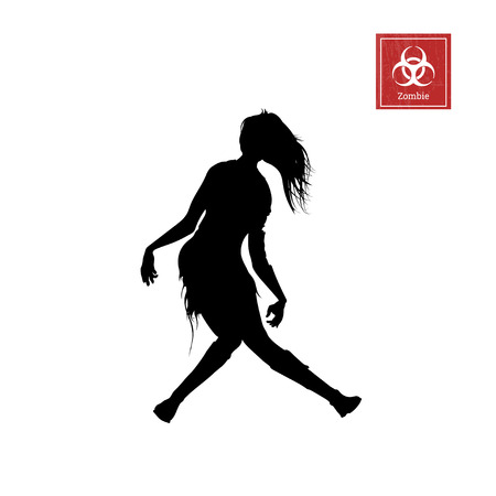 Black silhouette of women zombie on white background. Isolated image of undead monster