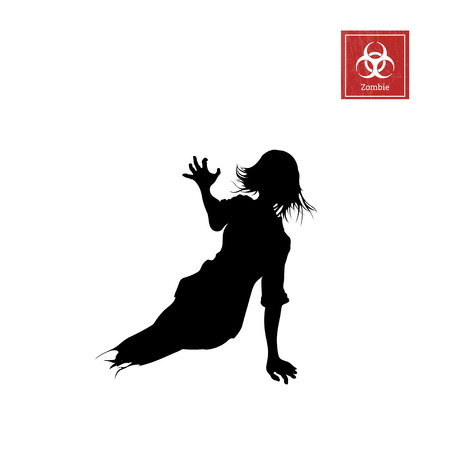 Black silhouette of women zombie without legs on white background. Isolated image of undead monster Illustration