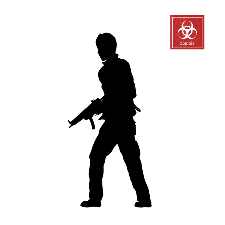 Black silhouette of man with rifle on white background. Zombie shooter. Character for computer game or thriller. Vector illustration Illustration
