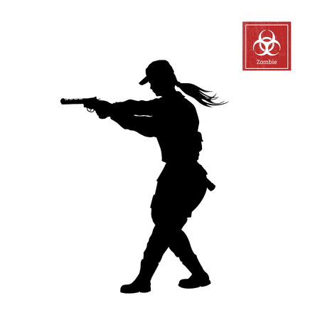 Black silhouette of police woman with gun on white background. Girl security or zombie shooter character for computer game or thriller. Stock Illustratie