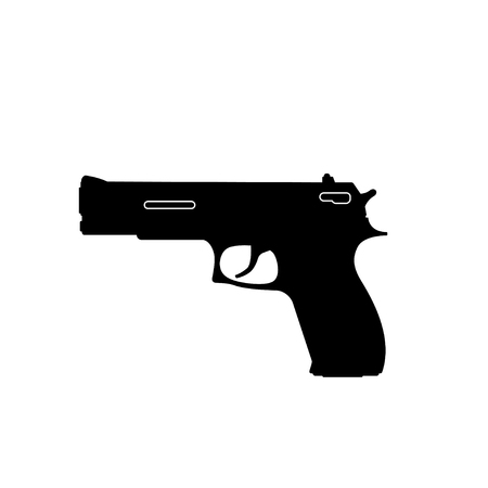 Black silhouette of gun on a white background. Weapons of police and army.