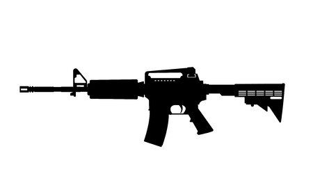 Black silhouette of machine gun on white background. Weapons of police and army.