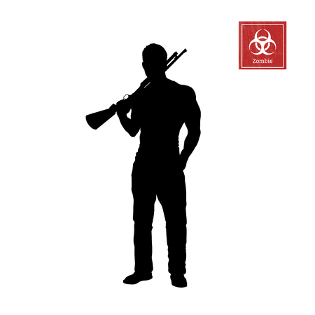 Black silhouette of man with shotgun on white background. Zombie shooter. Character for computer game or thriller. Hunter with rifler