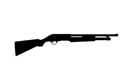Black silhouette of shotgun on white background. Weapons of police and army