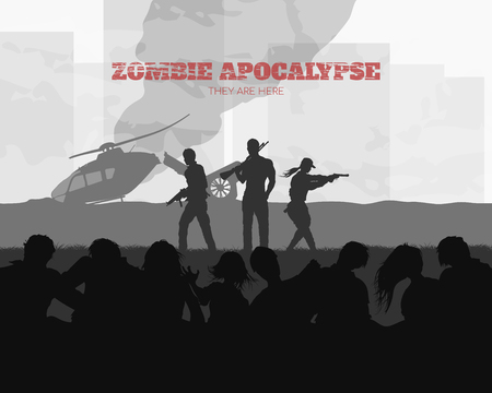 Poster Zombie apocalypse. Silhouettes of gunmans and dead peoples on helicopter background. Video game: shooter. Horror thriller. Nightmare monsters. Vector ilustration Illustration