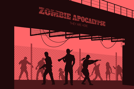 Poster Zombie apocalypse. Silhouettes of gunmans and dead peoples on bridge background. Video game: shooter. Horror thriller. Nightmare monsters 版權商用圖片 - 94059203