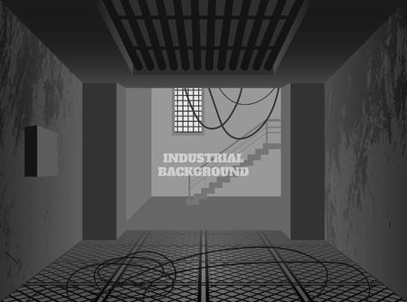 Industrial background. Dark factory in grunge style. Interior of broken workplace building