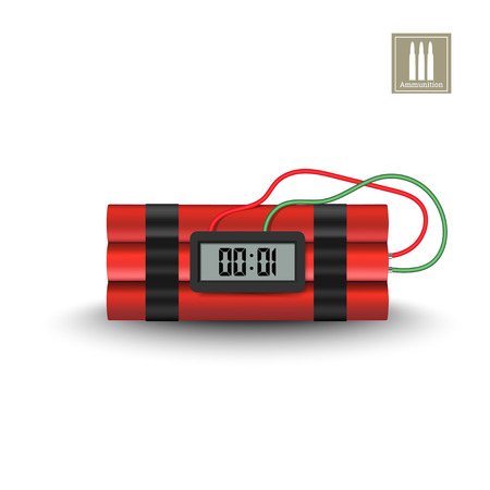 Detailed realistic image of dinamite with timer. Terrorist explosive. 3d weapon icon. Military isolated object