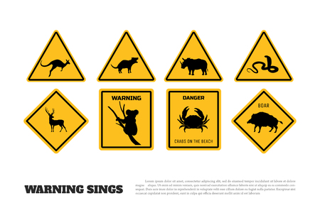 Animals yellow warning signs. Set of danger stickers and icons. Vector isolated illustration