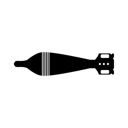 Black silhouette of tank mine. Army rocket explosive. Weapon icon. Military object  イラスト・ベクター素材