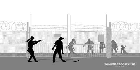 Poster of zombie apocalypse. Silhouettes of policeman and dead peoples on prison background. Video game shooter horror thriller nightmare monsters. Illustration