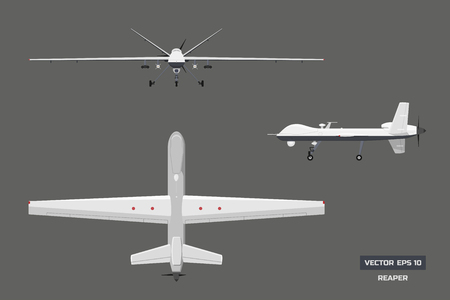 3d image of military drone. Top, front and side view. Army aircraft for intelligence and attack.  Industrial isolated drawing