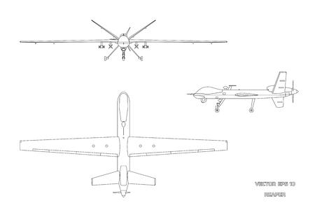 Imagen del esquema de aviones no tripulados militares. Vista superior, frontal y lateral. Aviones del ejército para inteligencia y ataque. Dibujo industrial aislado. Ilustración vectorial