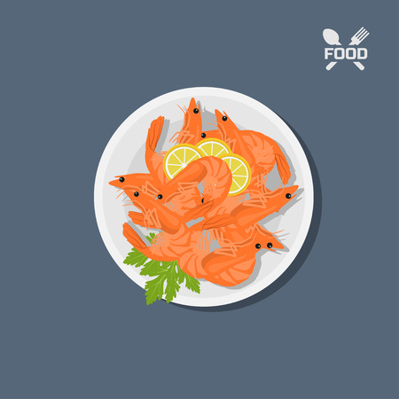Icon of shrimps with lemon on a plate. Top view. Restaurant dish. Seafood. Image of prawn