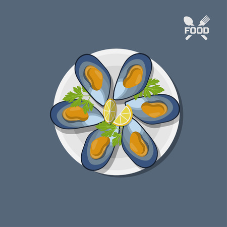 Icon of mussels on a plate. Vectores