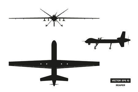 Black silhouette of military drone. Top, front and side view.