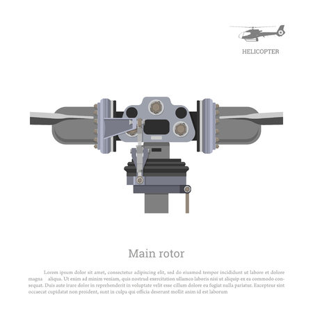 Blueprint of main rotor of helicopter. Industrial drawing of gearbox part. Detailed isolated image of craft propeller Illustration