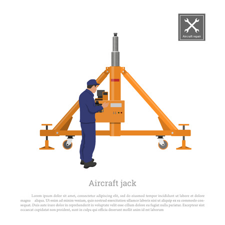Repair and maintenance of aircraft. Engineer with airplane jack. Industrial drawing of plane gear in flat style