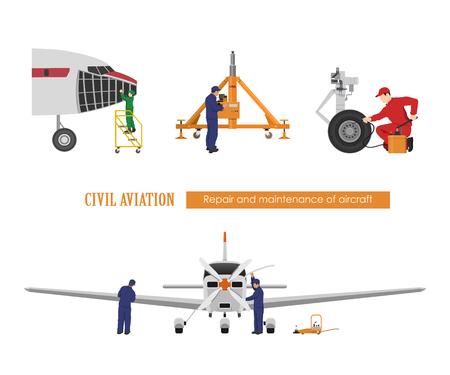 Repair and maintenance of aircraft. Engineers repairing airplane. Industrial drawing. Plane hangar Illustration