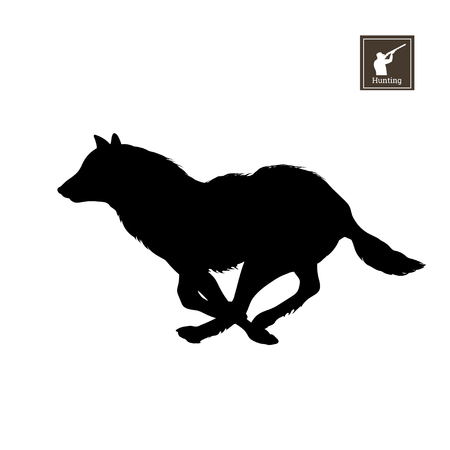 Black silhouette of running wolf on white background. Forest animals detailed isolated image.