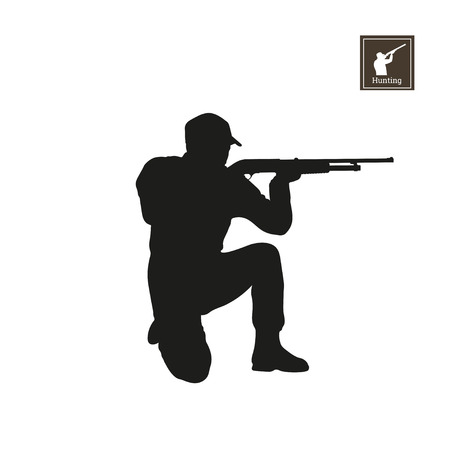 Black silhouette of hunter on white background. Icon of hunt man. Shooter with rifle