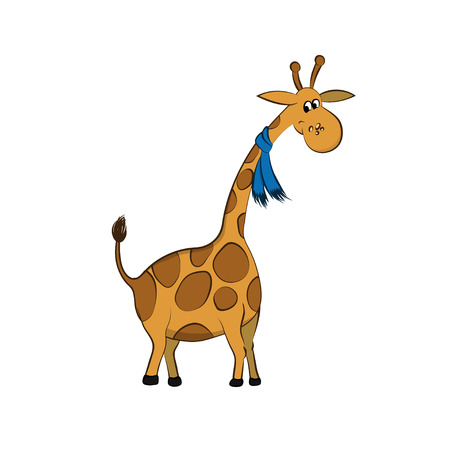 Animals of zoo. Giraffe with scarf in cartoon style. Isolated cute character Illustration